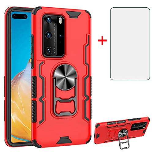 Phone Case for Huawei P40 Pro with Tempered Glass Screen Protector Cover and Magnetic Stand Ring Holder Slim Hybrid Hard Shockproof Bumper Armor Cell Accessories Hawaii P40Pro P 40 Pro40 Cases Red