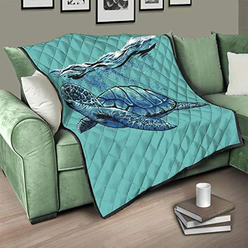 Flowerhome Ozean Schildkröte Tagesdecke Steppdecke Bettdecke Bettüberwurf Sofadecke Couchdecke Schlafdecke TV für Sofa Couch Bett White 150x200cm