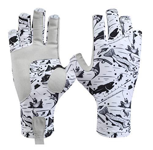 KOOFIN GEAR Fingerless Gloves Sun Protection Outdoor Fishing Kayaking Hiking Paddling Driving Canoeing Rowing,Fish;S
