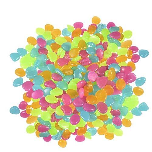 XIAOYUW 200pcs / Pack Giardino Luminoso d'ardore Pietra Ciottolo (Verde Blu Arancione Viola Ogni Colore) della Decorazione del Giardino (Colore : 4 Colors, Taglia : 200pcs)
