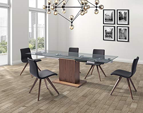 World Mod Modern Pilastro Extendable Dining Table 63/95L x 35W x 30H in Walnut