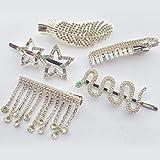 5PCS Fashion Retro Crystal Rhinestone Gold Bobby Pins Decoration Hair Slides Clips Accessories, Girls, Ladies, Women Party Wedding Hair Accessories