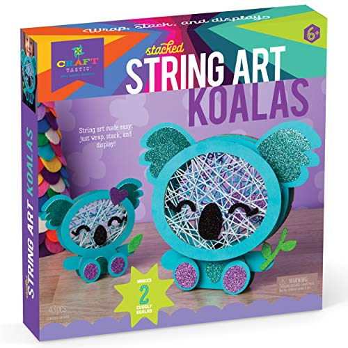 Craft-tastic – Stacked String Art Koalas – Craft Kit Makes 2 Cute Koalas – Fun DIY Arts & Crafts Project for Kids