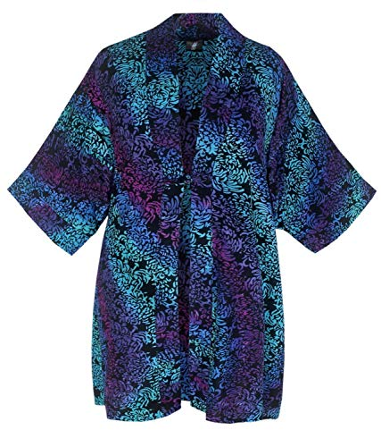 Caftan Kimono Asian Inspired with Back Neck Collar, Plus Size Jacket 2X-4X, Dressy Batik Wrap for Women's Plus Size Clothing