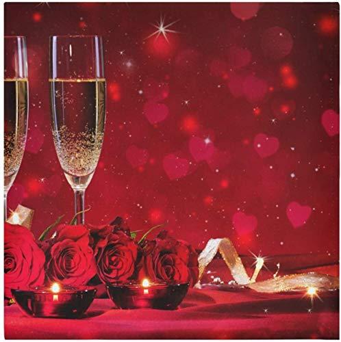 'N/A' OMAJIG Juego de 6 servilletas de tela de vino rosa de San Valentín, 50 x 50 cm, lavables de poliéster, ideales para bodas, fiestas, cenas de vacaciones y mucho más (1na5b)