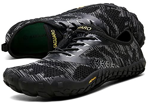 SAGUARO Hombre Mujer Zapatillas Barefoot Minimalistas Calzado de Training Ligeras Cómodas para Caminar Senderismo Ciclismo Trail Running Trekking Playa Agua Exterior Interior, Ébano Negro, 45