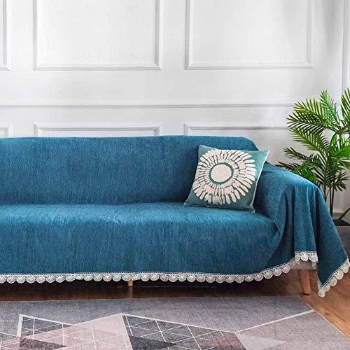 Correas elásticas Fundas de sofá Antideslizantes Impermeables, para sofá seccional en Forma de L, Funda de sofá Antiarrugas antiácaros Azul 180x240cm (71x94inch)