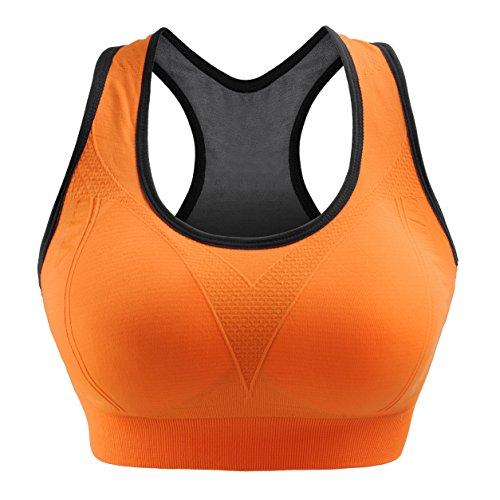 Libella Sport-BH Damen Bustier Gepolsterter Push Up Ohne Bügel Sport Bra Fitness Sporttop 3765 Orange L/XL