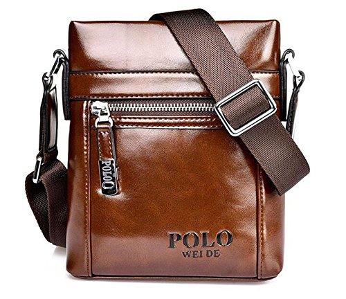 Luzuzi da uomo in morbida pelle impermeabile borsa a tracolla messenger bag valigetta marrone LUCKY070