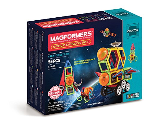 Magformers Space Episode 55 Pieces Rainbow Colors, Educational Magnetic Geometric Shapes Tiles Building STEM Toy Set Ages 3+