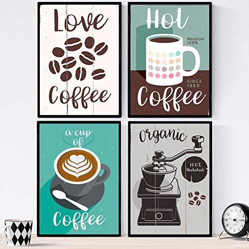 Set Nacnic koffie vellen. Soorten koffie posters. Kleurrijke koffie 1. Grootte A3