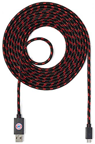 snakebyte FCB Micro USB Ladekabel 3 Meter - Offiziell lizenziertes FC Bayern München Micro USB Kabel / Nutzung für Smartphone, Handy, Tablet, Controller, PS4, Xbox, Computer, Laptop, uvm. / FCB Design