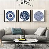 Totem de porcelana azul y blanca Pintura de la lona Tazón Impresiones para el arte Cartel de la pared Decoración del hogar 50x50cm