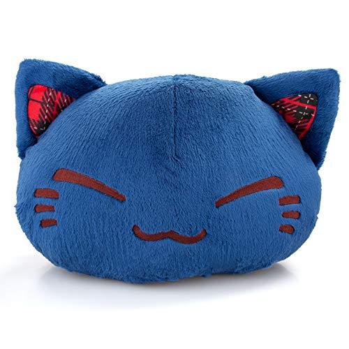 Meralens Nemu Nemo Neko dunkelblaue Katze mit blauen Ohren und Schottenmuster Kuscheltier Manga Anime Otaku Kawaii Stofftier Plüschtier Plüsch Plush Original aus Japan Höhe 25cm Breite 34cm