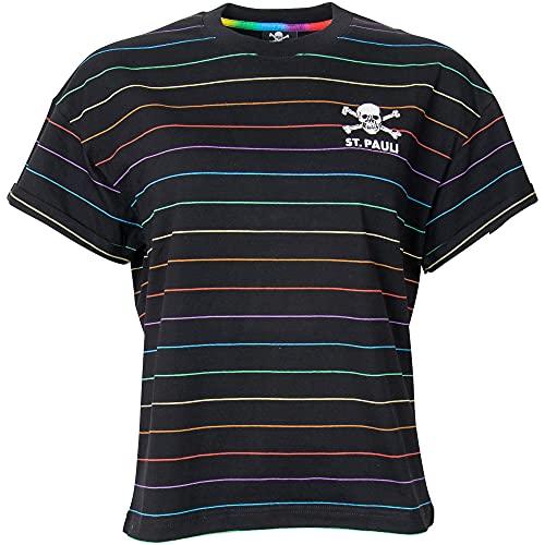 FC St. Pauli Camiseta de manga corta para mujer, diseño de rayas, color negro Negro S