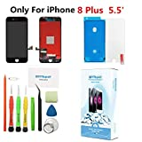 Premium Screen Replacement for iPhone 8 Plus (5.5 inch) - 3D Touch LCD Complete Repair Kits -LCD Touch Digitizer Display Glass Replacement with Tempered Glass, Tools, Instruction (Black)