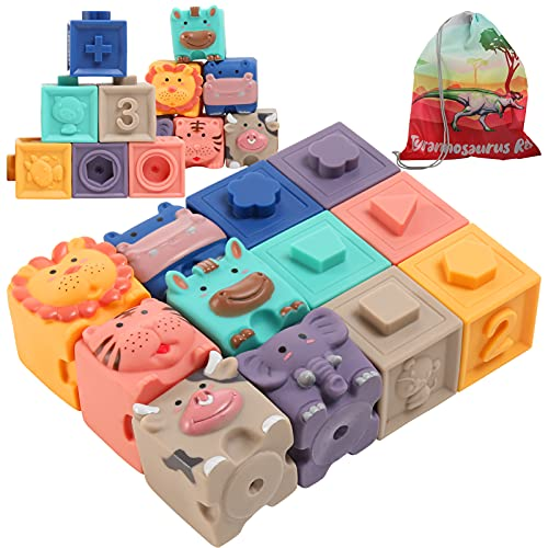 Baby Blocks, Baby Toys 6 to 12 Months Soft Stacking Building Blocks, Montessori Learning Babies Infant Teething Chewing Toy, Squeeze Sensory Toys, Bath Toy for Toddler Baby Girl Boy 12-18 Months