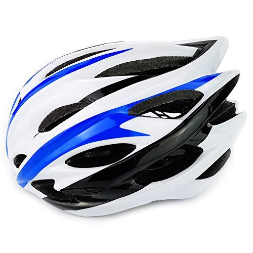 UPANBIKE Casco da Bici Casco da Ciclismo Regolabile monoblocco Testa di Sicurezza Protezione Imbottita per Equitazione Trekking (Bianco Nero Blu)