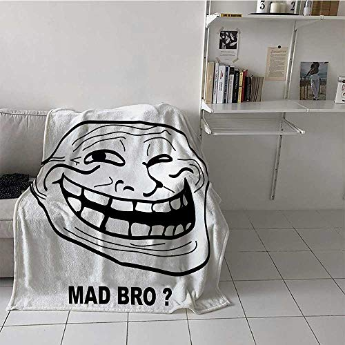Soft Blanket Throw Humor Luxurious Year-Round Blanket Cartoon Style Troll Face Guy for Annoying Popular Artful Internet Meme Design Perfect Covering for Afternoon Nap Black and White 50x60 Inch