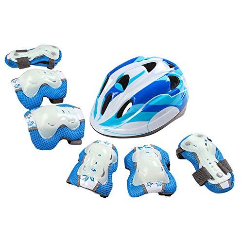QQYYY Casco De Ciclismo para Niños Set De Protecciones Patinaje De Niños Protección Rodilleras Y Coderas Utilizado para Patines Patinaje Ciclismo Monopatín Y Deportes Extremos,Azul,S