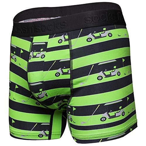 Mens Boxer Briefs-Premium Underwear for Men Golf Briefs-Gift Box-Large