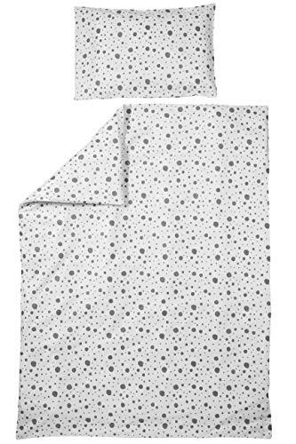 Meyco 425055 - Juego de ropa de cama infantil (40 x 60 cm y 120 x 150 cm), diseño de lunares, color blanco y negro