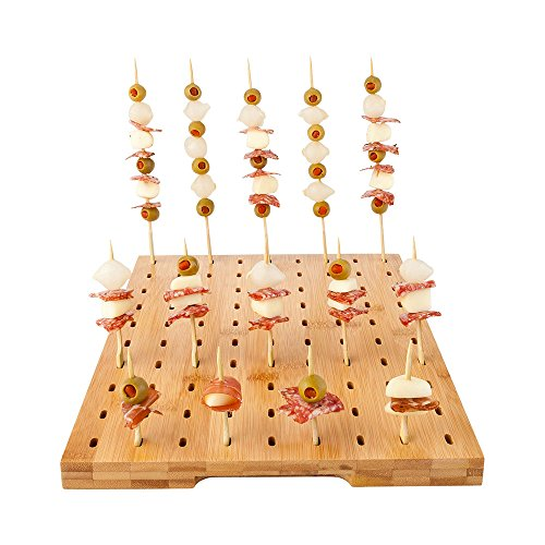 Natural Bamboo Paddle Pick Stand with 90 Holes 1 count box