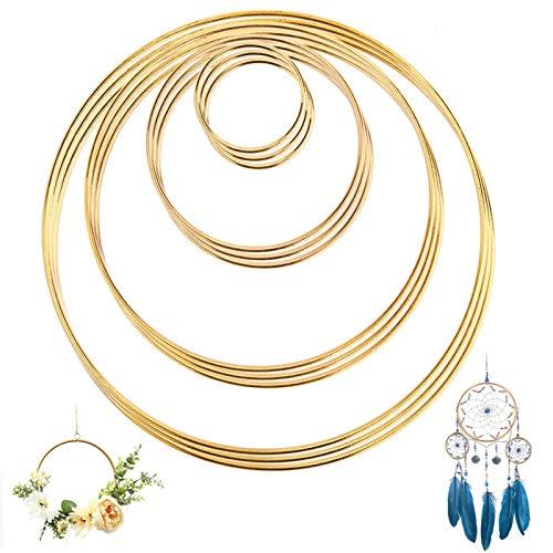 UIEEGPG Metallring 12 Stück 4 Größen Kranz Ringe (2 4 6 & 8 Zoll), Anti-Rost Gold Metall Ringe für Traumfänger Ringe, Floral Hoops Ringe DIY Handwerk und Hochzeit Dekor