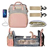 5 in 1 Portable Diaper Bag Backpack with Changing Station,Travel Bassinet Foldable Baby Bag with Crib,Shade Cloth,Mattress,Multi-Functional Mummy Bag with USB Charging Port,Waterproof (Pink+Grey)