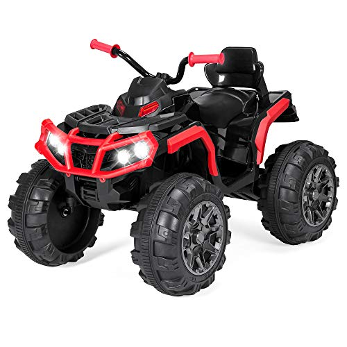Best Choice Products 12V Kids Electric 4-Wheeler ATV Quad Ride On Car Toy w/ 3.7mph Max Speed, Treaded Tires, LED Headlights, AUX Jack, Radio - Red