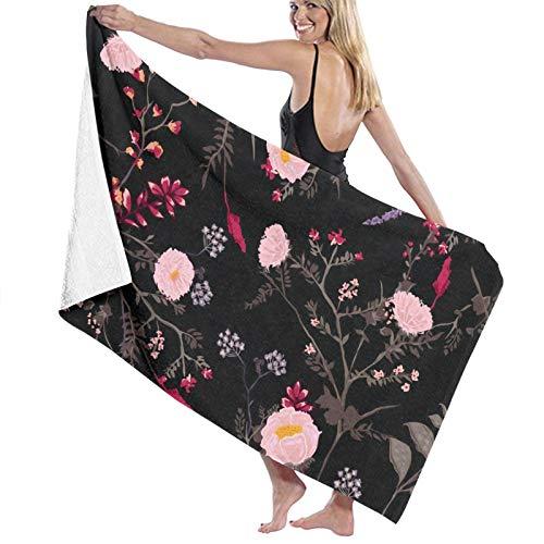 Dark-floral-patternn-flowers Toallas de baño de secado rápido suave toalla de ducha de playa 130 x 80 cm