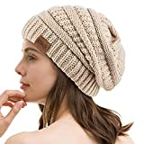 REDESS Slouchy Beanie Hat for Men and Women Winter Warm Chunky Soft Oversized Cable Knit Cap Oatmeal