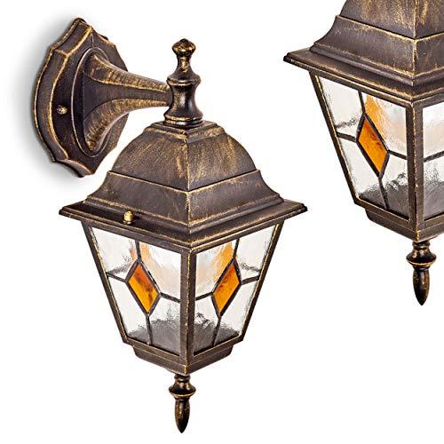 Applique da Muro Da Esterno Design Classico- Lampada da Parete Alluminio Pressofuso Paralumi Vetro Decorati- Illuminazione Giardino Facciata Esterna