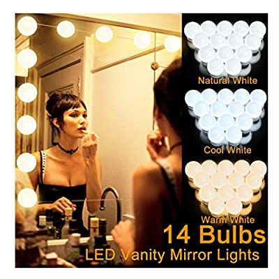 LED Vanity Mirror Lights Kit with 14 Dimmable Light Bulbs, Hollywood Style LED Lighting Fixture Strip for Mirror Makeup Dressing,3 Color Modes, and 10 Level Brightness(Mirror Not Included)