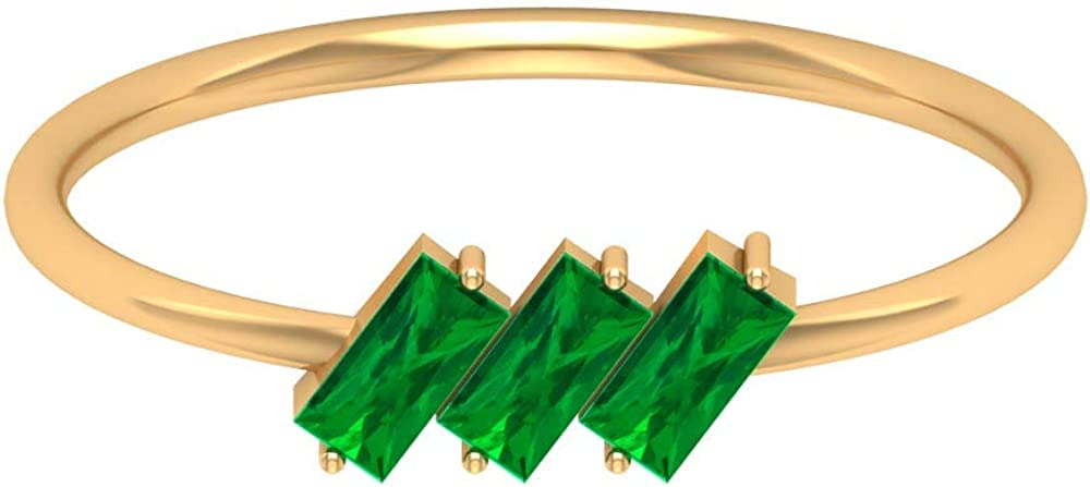 1/3 CT Certified Baguette Shaped Emerald Wedding Ring, Unique Green Gemstone Partywear Statement Solid Gold Ring, Classic Women Anniversary Ring, 14K Gold