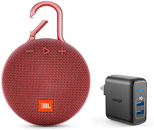JBL Clip 3 Portable Bluetooth Wireless Speaker Bundle with Dual Port 24W USB Travel Wall Charger - Red