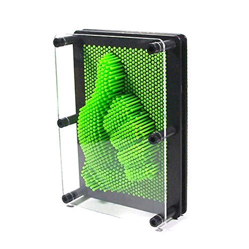 3D Bilder Nagelspiel Abdruck Kreative Muster Anzeige Schreibtisch Deko Interessantes Geschenk für Kinder 20 x 15 cm, Grün