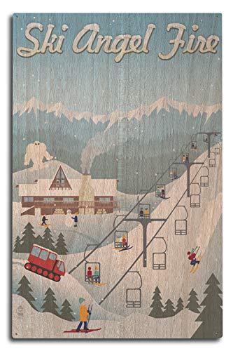 Lantern Press Angel Fire, New Mexico - Retro Ski Resort (10x15 Wood Wall Sign, Wall Decor Ready to Hang)