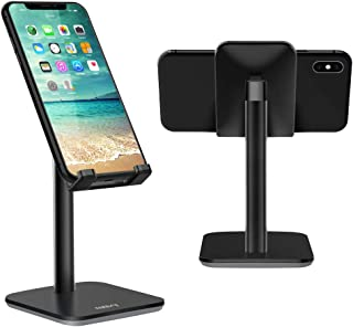 Nulaxy Adjustable Phone Stand, Upgraded Height Increasing Cell Phone Stand, Cradle, Dock, Desk Phone Holder Compatible with iPhone Xs Xr 8 X 7 6 6s Plus SE 5 5s 5c, All Smartphones - Black