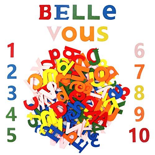 Bunte Buchstaben Holz Zahlen (124Stk) - 4,5cmx3mm Holzbuchstaben Set Alphabet (A-Z) Groß Buchstaben, Klein Buchstaben (je 52Stk)20 Holzzahlen (0-9)- Holz Deko Namensschild fur Kinderzimmer