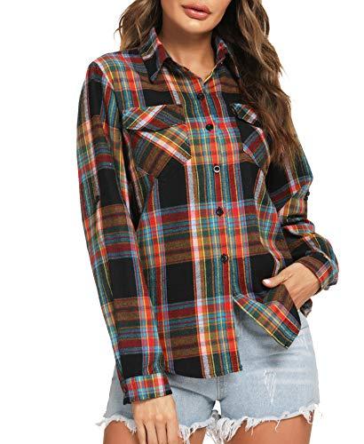 Camisa Cuadros Mujer Franela 100% Algodón Camisa Leñador Blusas Basiccon Botones Camisetas Cuello en V Manga Larga Casual Oficina Básico Vintage Western