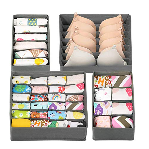 LEADSTAR Kleiderschrank Organizer, 4 Stück Schubladen Ordnungssystem, Aufbewahrungsbox Stoff Faltbar, Wäsche Sortiersystem Schrank Unterwäsche Organizer Boxen für BHS Bra Socken Unterhosen Krawatten