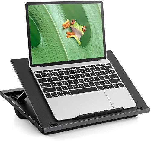 LORYERGO Laptop-Schreibtisch – verstellbarer Laptop-Ständer mit 8 Winkeln & zwei Kissen, Knietisch passt bis zu 15,6 Zoll Laptops, tragbarer Laptop-Schreibtisch mit Griff für Bett, Sofa oder Auto