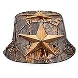 Sombrero de Pescador Unisex Viejo Cartel de la Estrella de Texas en la Valla de Madera Cerca de Moab, Utah, EE. Plegable De Sol/UV Gorra Protección para Playa Viaje Senderismo Camping
