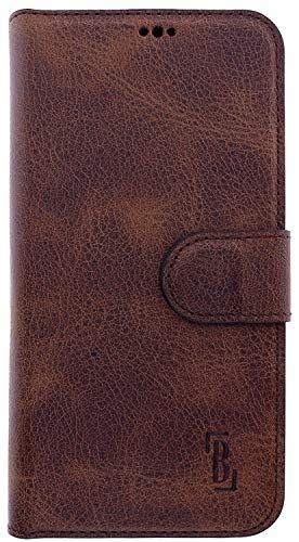 Burkley Handyhülle für Samsung Galaxy J5 2017 Leder Hülle - Kompatibel mit Samsung Galaxy J5 2017 Handytasche Schutzhülle Handy-Hüllen Flip-Case (Antik Kaffee Braun)