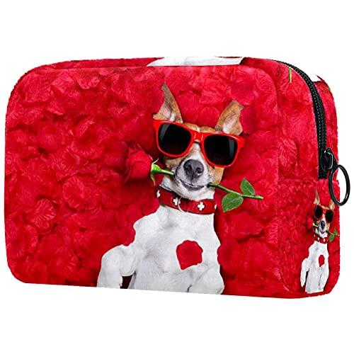 Neceser de Maquillaje Bolso Cosmético Monedero, Perro en Cama de Rosas