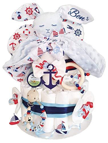 Windeltorte XXL mit Namen - Maritim Kuscheltier süßer Hase - Schnullerkette & Greifling - Geschenk, Babyparty, Geburt Taufe + Gratis Grußkarte