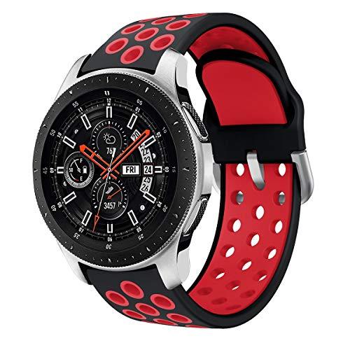 Syxinn Kompatibel mit 22mm Armband Galaxy Watch 46mm/Gear S3 Frontier/Classic Armband Silikon Uhrenarmband Sportarmband für Moto 360 2nd Gen 46mm/Huawei Watch GT/GT 2 46mm/Ticwatch Pro (Schwarz-rot)