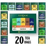VAHDAM, surtido de té desintoxicante 5 tés, 4 bolsitas de té de pirámide cada una (20 bolsitas de té) | Himalayan Geen tea, Sweet Himalayan green, Turmeric spice y High mountain Oolong tea from India