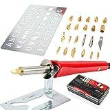 Hi-Spec Kit de Iniciación a la Pirografía en Madera o Cuero Pirograbador Soldador Electrónico de 30W Set de Accesorios Plantillas y Plumas